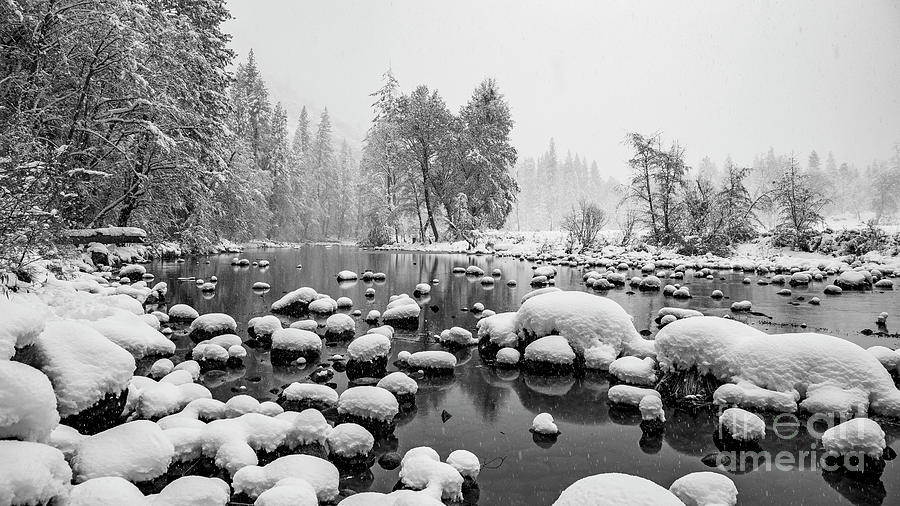 Merced River Snow Yosemite Valley Photograph