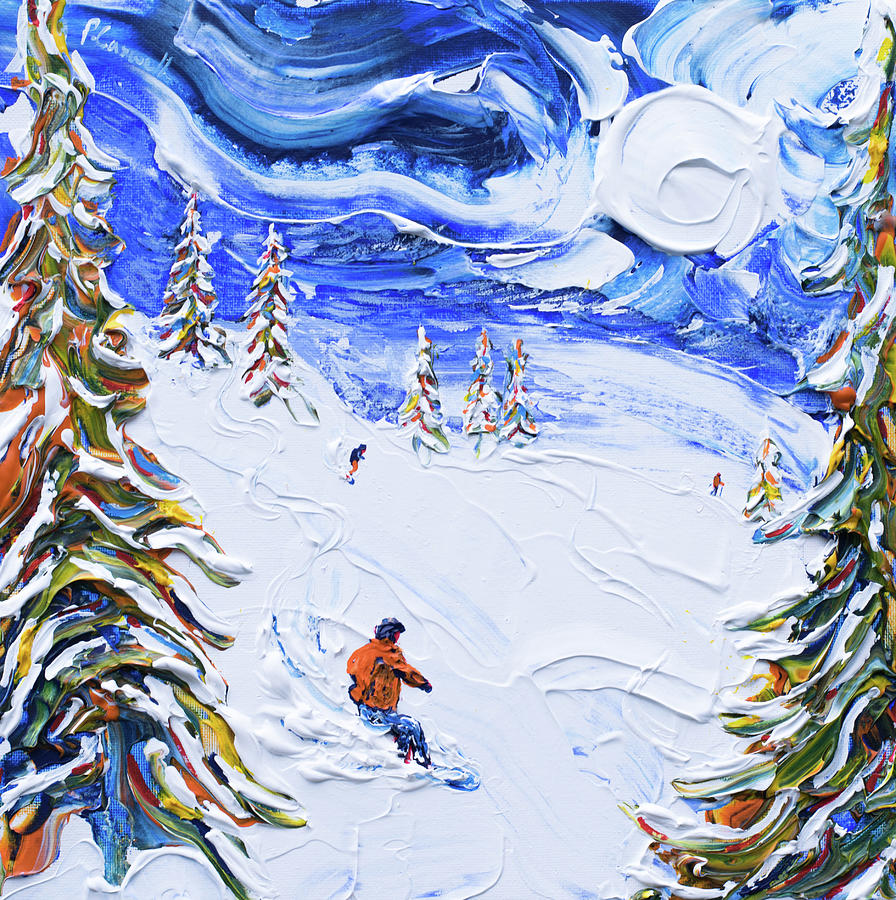 Meribel Snowboarder Print 3 Valleys by Pete Caswell