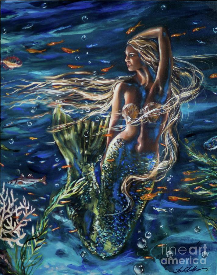 Mermaid Floating by Linda Olsen