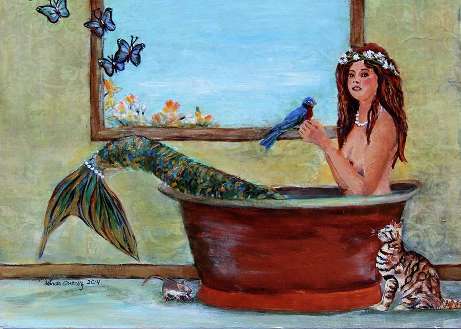 Mermaid Painting - Mermaid in Bathtub Spring Mermaid Painting by Linda Queally by Linda Queally