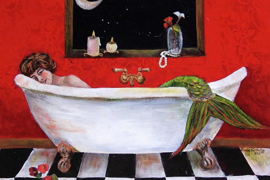 Mermaid Painting - Mermaid in Bathtub Taking a Moonlight Soak by Linda Queally by Linda Queally
