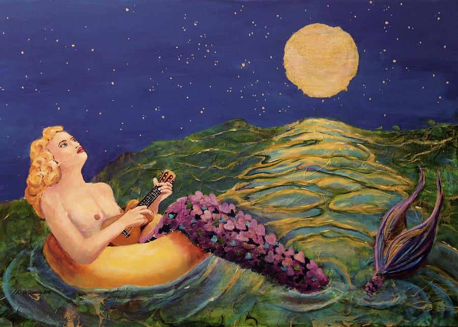 Mermaid Painting - Mermaid in Inner Tube Playing Ukulele by Linda Queally by Linda Queally