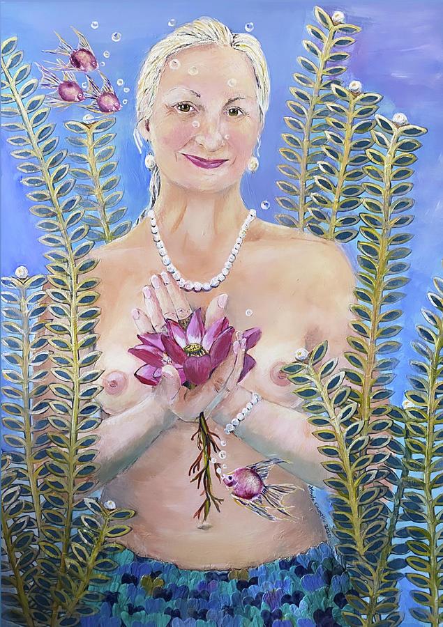 Mermaid Painting - Mermaid with Pink Lotus by Linda Queally