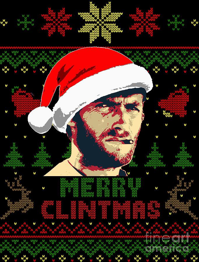 Santa Digital Art - Merry Clintmas Clint Eastwood Christmas by Filip Schpindel
