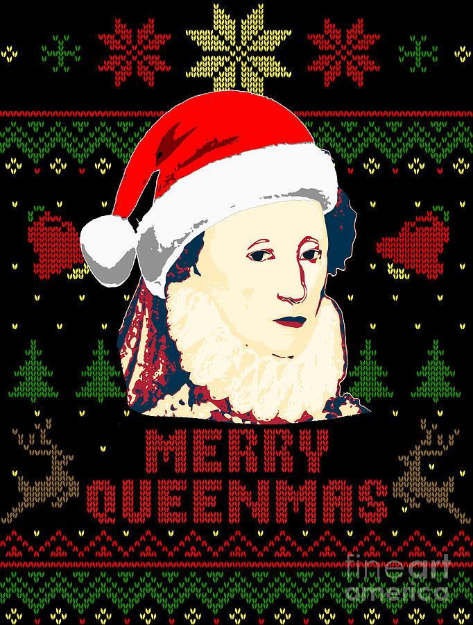 Santa Digital Art - Merry Queenmas Queen Elizabeth by Filip Schpindel