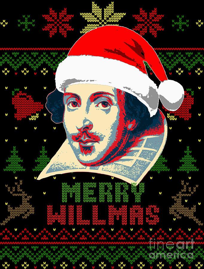 Santa Digital Art - Merry Willmas William Shakespeare Christmas by Filip Schpindel