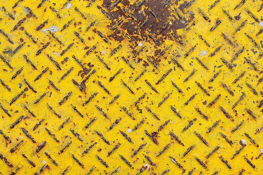 Metal Diamond Plate Texture. Yellow Painted Metallic Plate Anti Slip Surface. Photograph