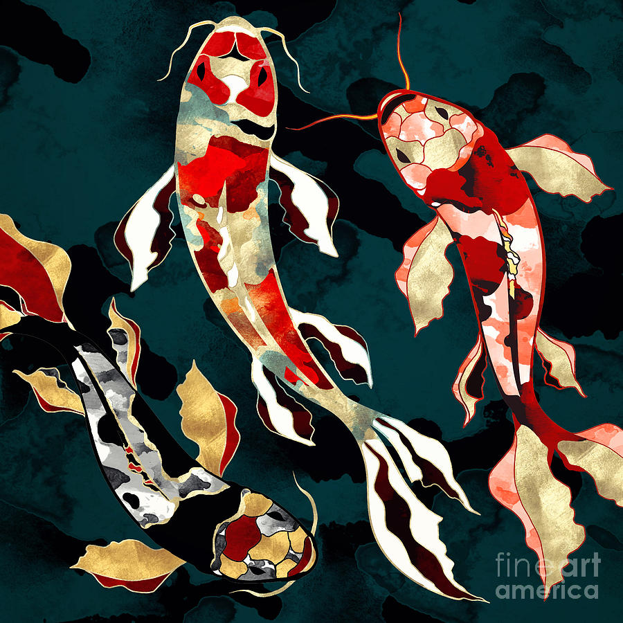 Digital Digital Art - Metallic Koi by Spacefrog Designs