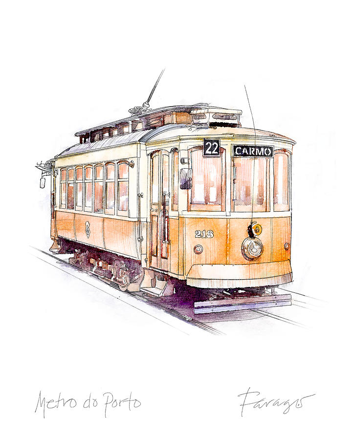 Portugal Drawing - Metro do Porto Tram by Peter Farago