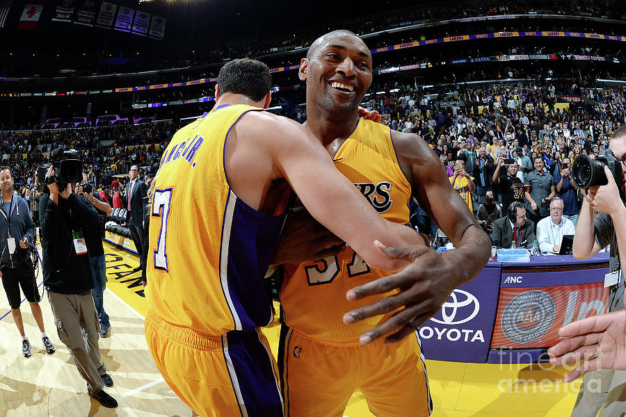 Metta World Peace and Larry Nance Photograph by Andrew D. Bernstein