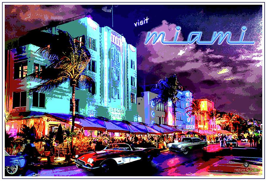 Miami Digital Art - Miami Beach by Jason Neptune