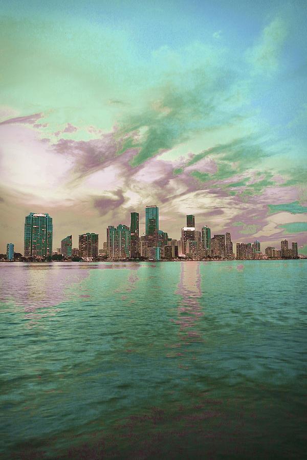 Miami Skyline, United States 5 - Surreal Art By Ahmet Asar Digital Art