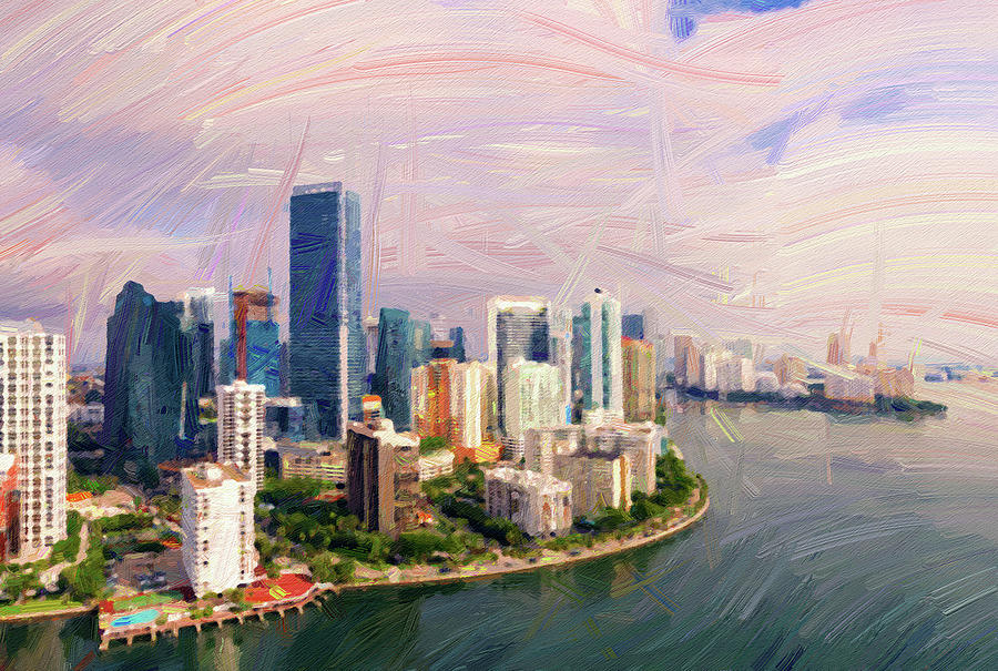 Miami Skyline, United States - Abstract Oil Painting By Ahmet Asar Digital Art
