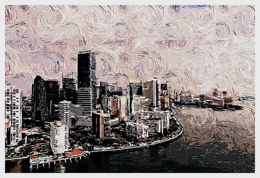 Miami Skyline, United States Digital Art