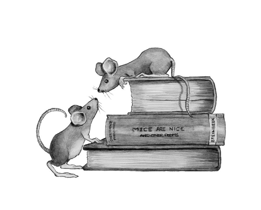 Mice Playing On Books Drawing