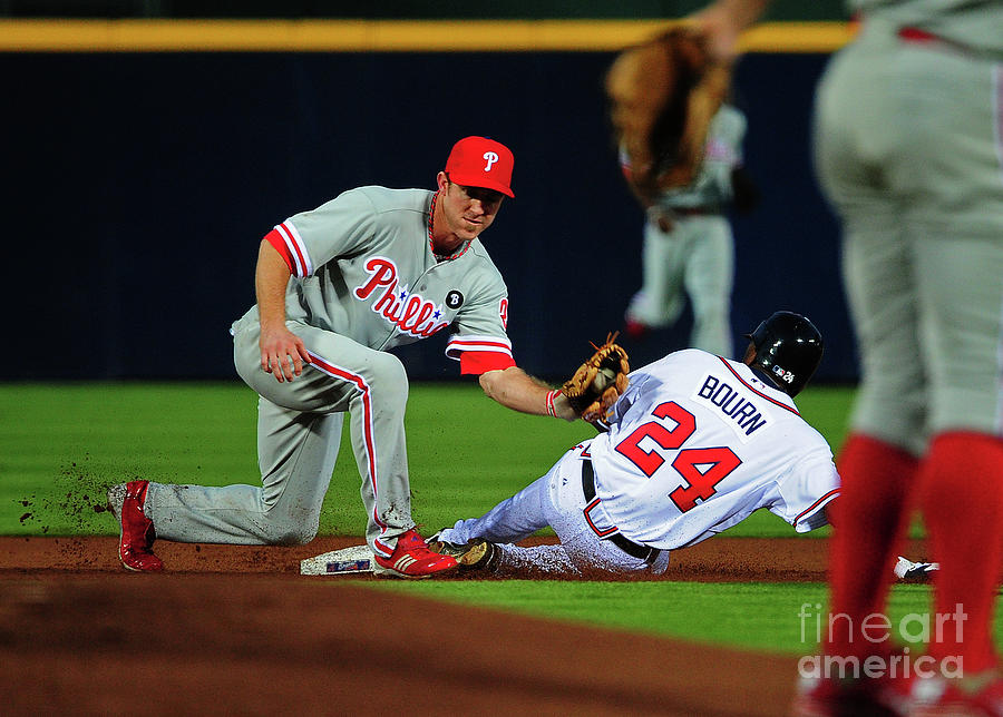 Michael Bourn and Chase Utley Photograph by Scott Cunningham
