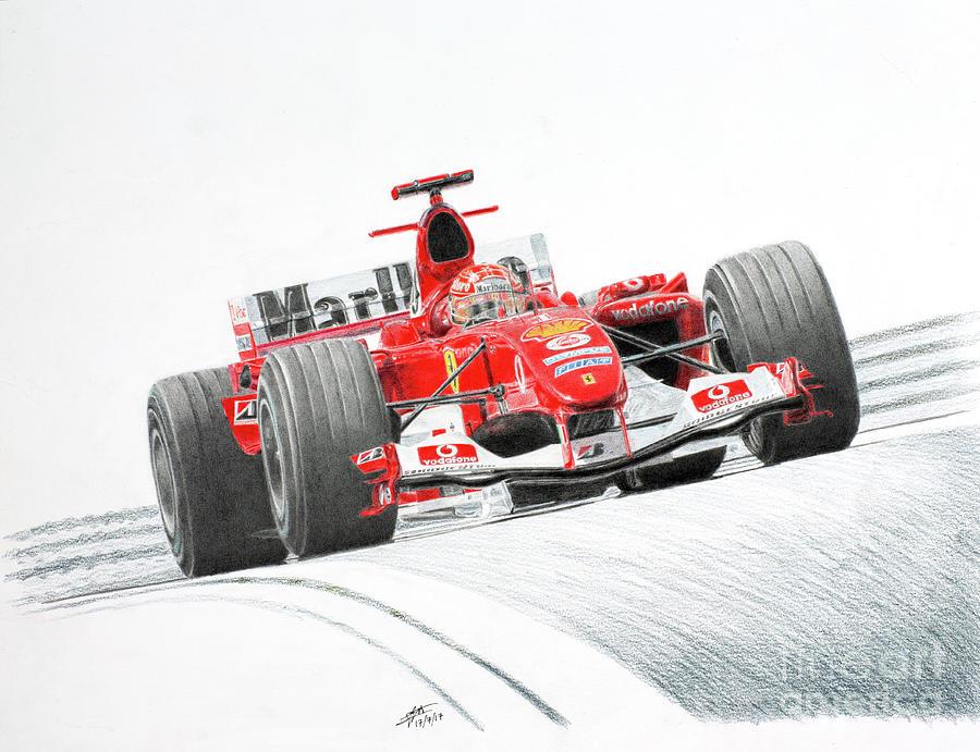 Michael Schumacher Ferrari F2004 Drawing By Lorenzo Benetton