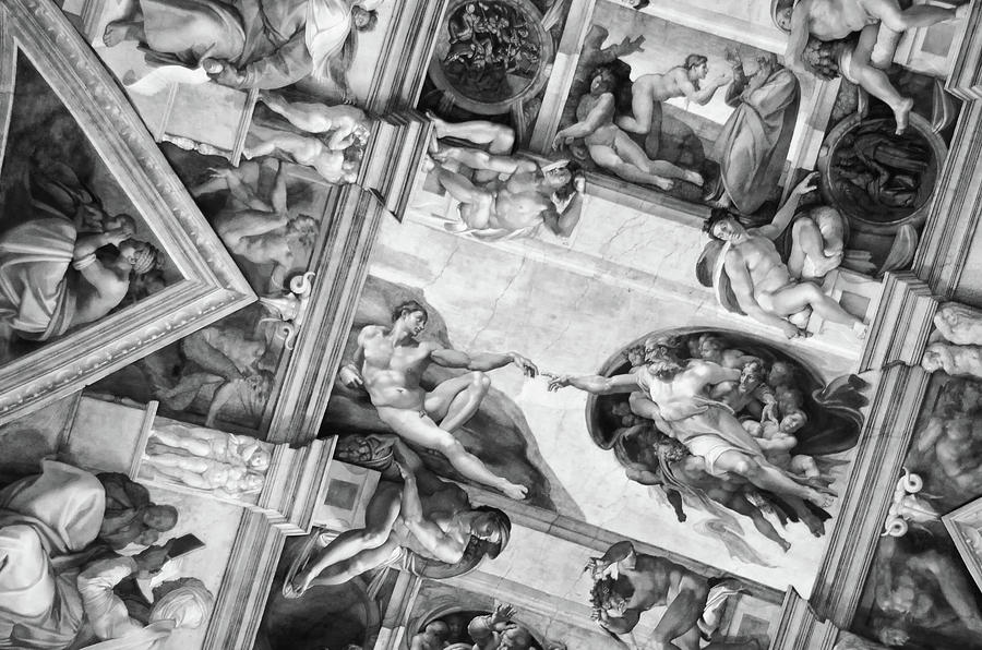 Michelangelo's Creation of Adam in Context of Sistine Chapel Frescoes Black and White by Shawn O'Brien