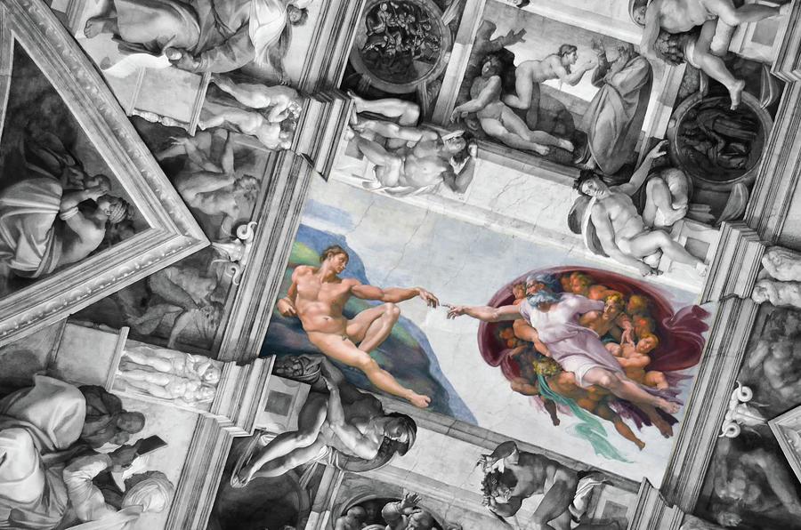 Michelangelo's Creation of Adam in Context of Sistine Chapel Frescoes Color Splash by Shawn O'Brien