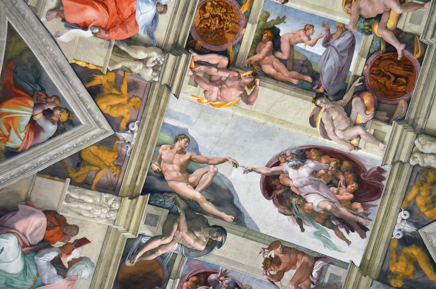 Michelangelo's Creation of Adam in Context of Sistine Chapel Frescoes by Shawn O'Brien