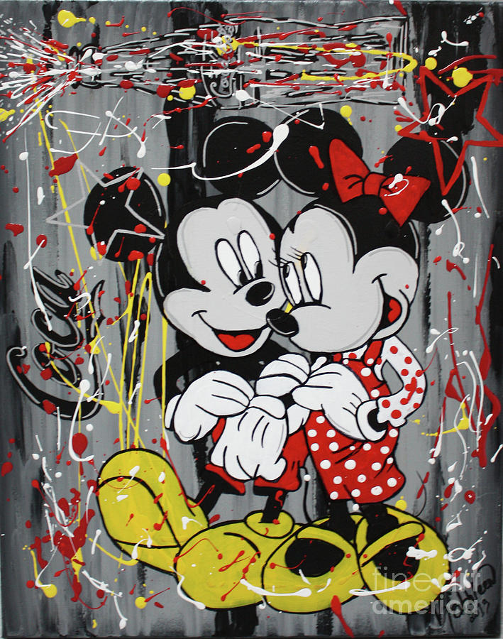Mickey And Minnie Mouse Coca Painting Painting