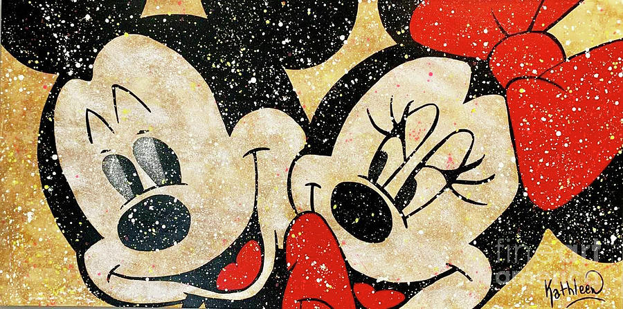 Mickey And Minnie Mouse In Love Painting Painting
