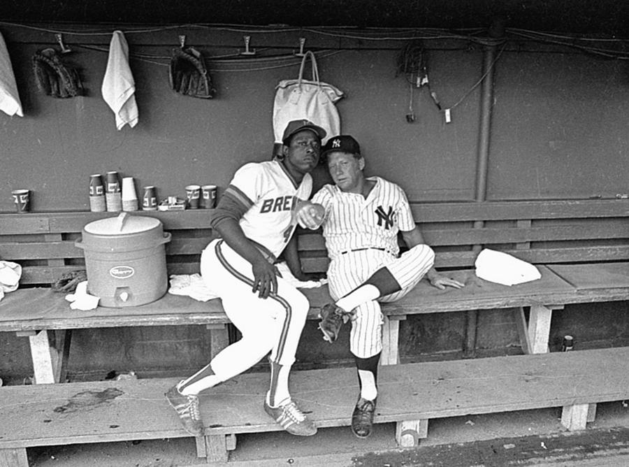 Mickey Mantle and Hank Aaron Photograph by Ronald C. Modra/sports Imagery