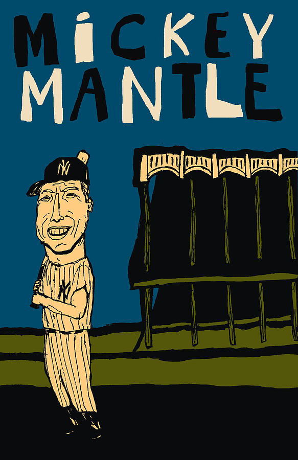 Yankee Stadium Mixed Media - Mickey Mantle Yankee Stadium by JB Perkins