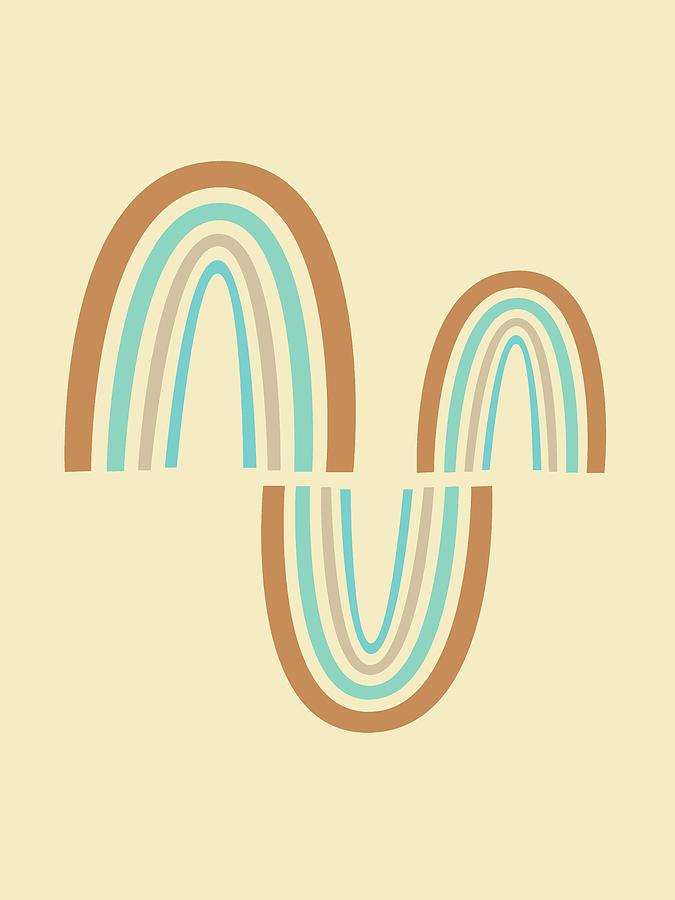 Mid Century Modern Art - Minimal Geometric Abstract 07 - Parabolic Arches - Wheat - Scandinavian Mixed Media