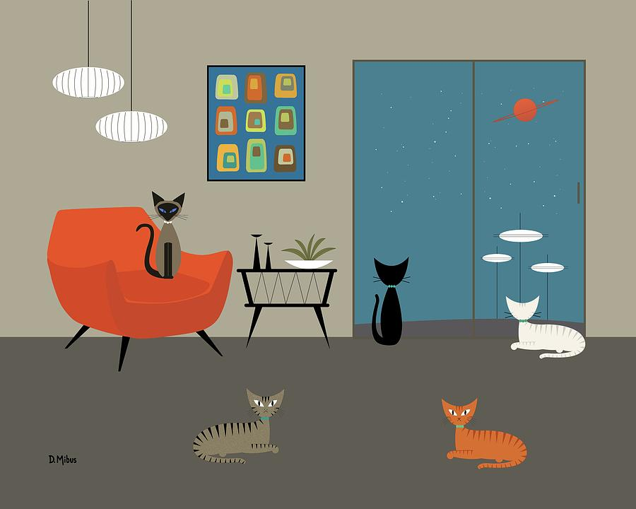 Mid Century Modern Cats by Donna Mibus
