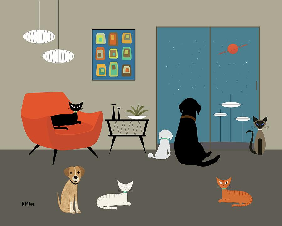 Mid Century Modern Dogs and Cats by Donna Mibus
