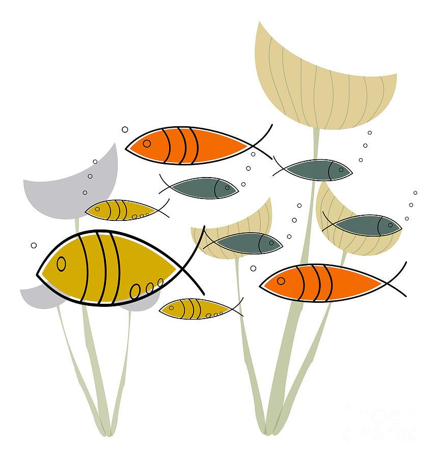 Mid Century Modern Fish Digital Art