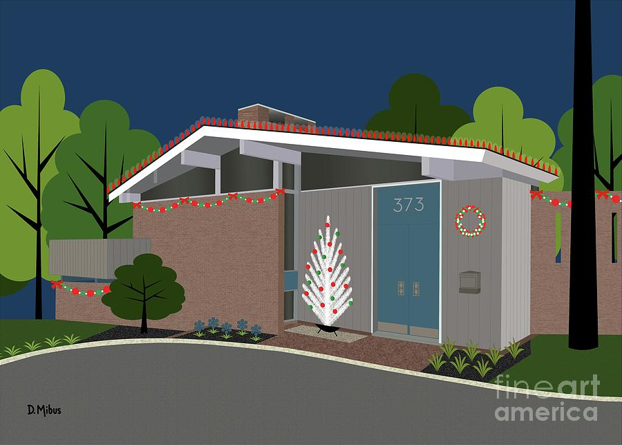 Greeting Card Mid Century Modern House 5 by Donna Mibus