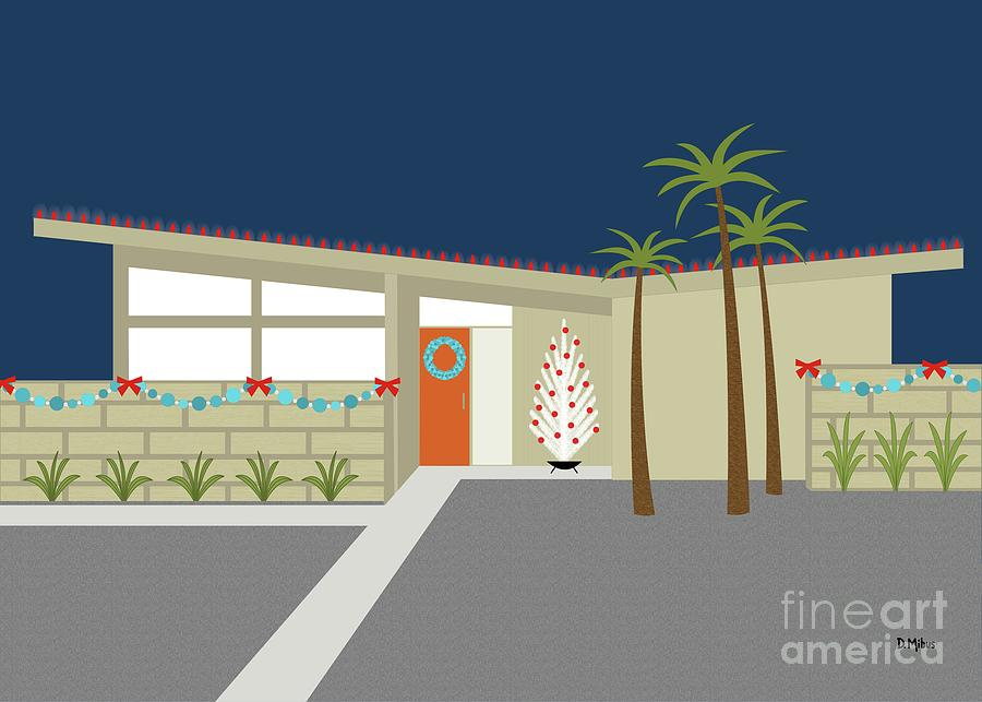 Greeting Card Mid Century Modern House 1 by Donna Mibus