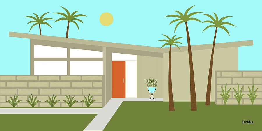 Mcm Digital Art - Mid Century Modern House in Tan by Donna Mibus