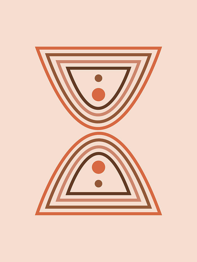 Mid Century Modern - Minimal Geometric Abstract 01 - Parabolic Arches - Brown - Scandinavian Mixed Media