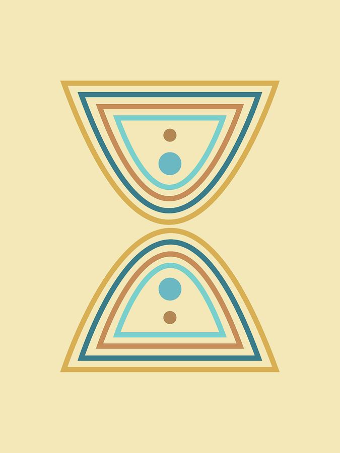 Mid Century Modern - Minimal Geometric Abstract 01 - Parabolic Arches - Coastal - Scandinavian Mixed Media