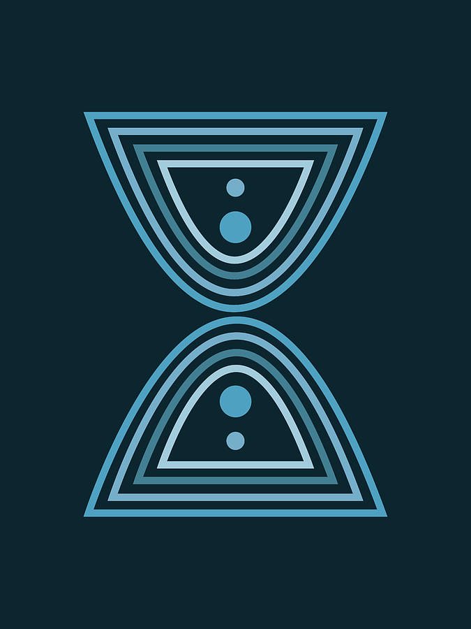 Mid Century Modern - Minimal Geometric Abstract 02 - Parabolic Arches - Blue - Scandinavian Mixed Media