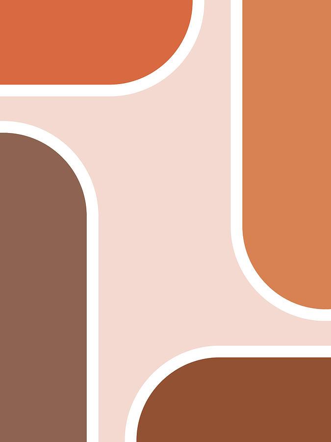 Geometric Mixed Media - Mid Century Modern Print 01 - Minimal Geometric Poster - Stylish, Abstract, Contemporary - Brown by Studio Grafiikka
