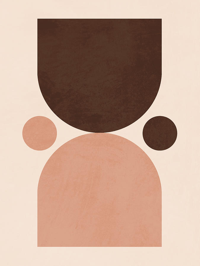 Mid Century Modern Print 07 - Minimal Geometric Poster - Stylish, Abstract, Contemporary - Brown Mixed Media