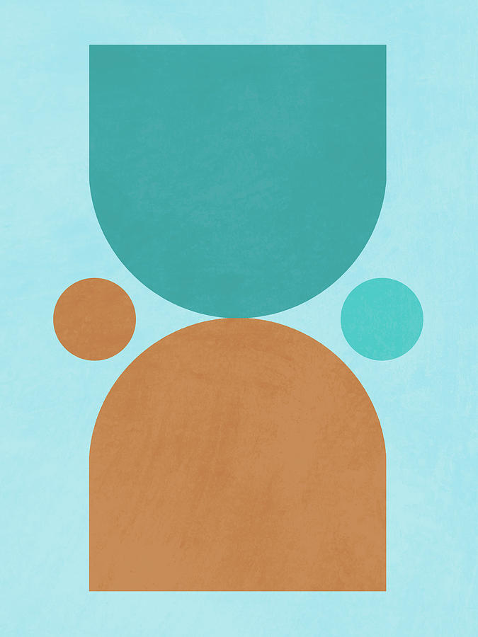 Mid Century Modern Print 16 - Minimal Geometric Poster - Stylish, Abstract, Contemporary - Coastal Mixed Media