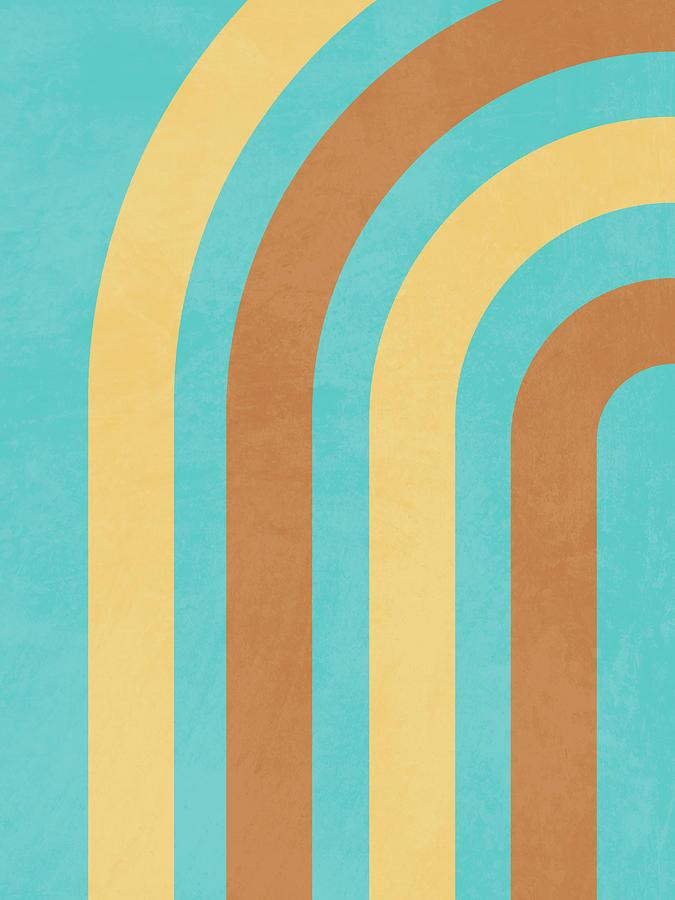 Mid Century Modern Print 17 - Minimal Geometric Arch - Stylish, Abstract, Contemporary - Coastal Mixed Media
