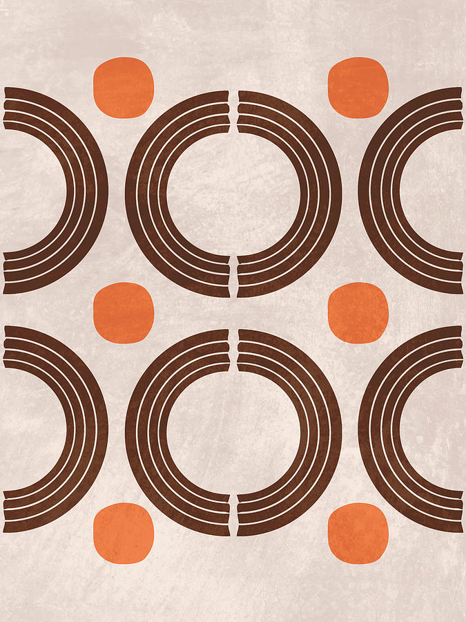 Mid Century Modern Print 18 - Minimal Geometric Shapes - Stylish, Abstract, Contemporary - Brown Mixed Media