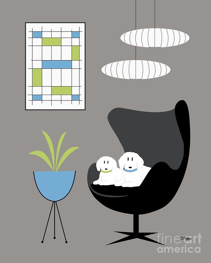 Donna Mibus Art Print Mid Century Modern Egg Chair Blue Room Black Dog