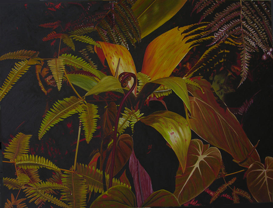 Plant Painting - Midnight in the garden by Thu Nguyen