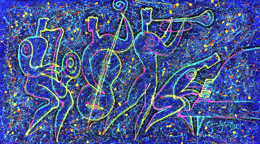Music Painting - Midnight Jazz and Jackson Pollock style by Leon Zernitsky