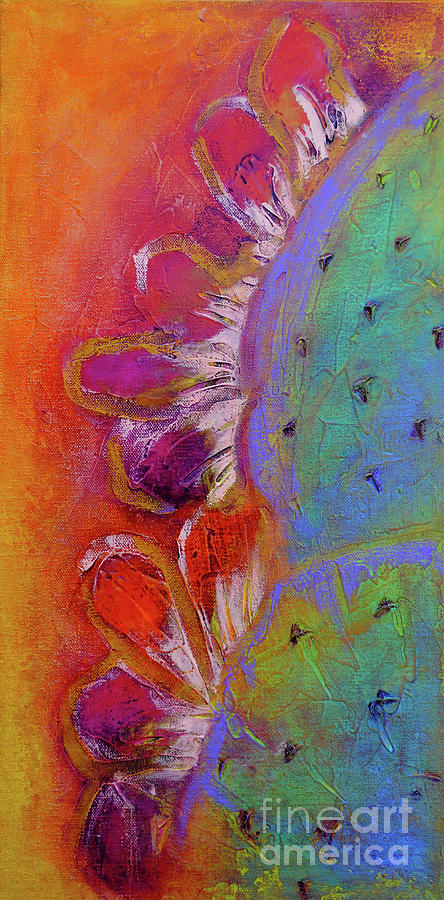 Midnight Prickly Pear I Painting by Robin Valenzuela