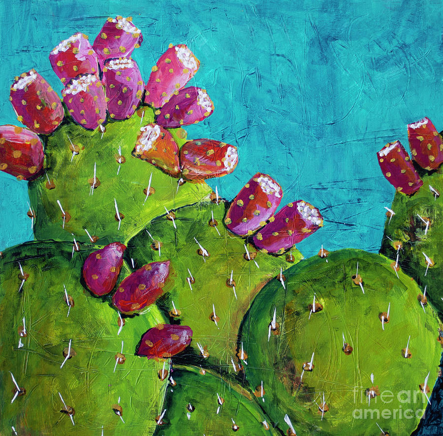 Midnight Prickly Pear II Painting by Robin Valenzuela