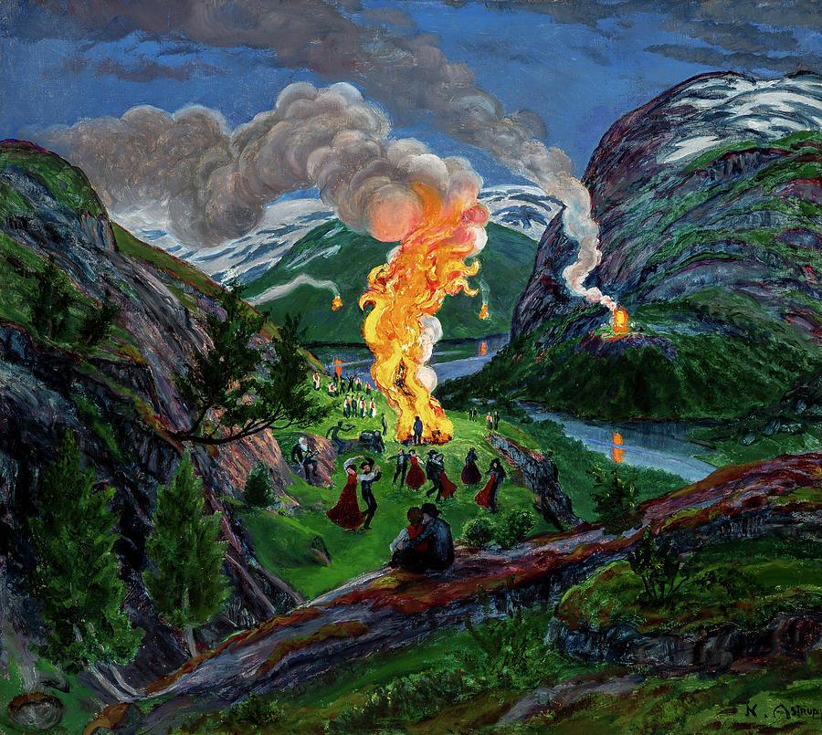 Nikolai Astrup Painting - Midsummer Eve Bonfire, 1926 by Nikolai Astrup