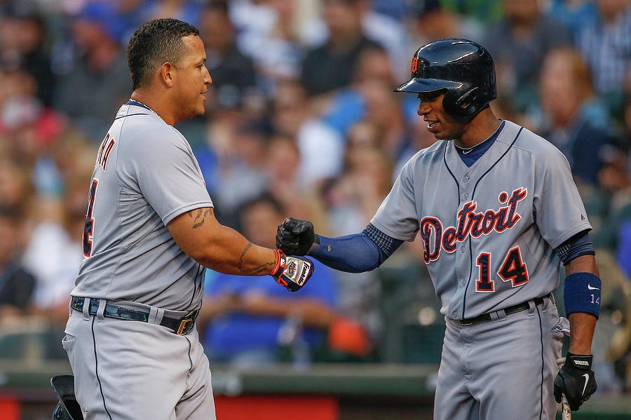 Miguel Cabrera and Austin Jackson Photograph by Otto Greule Jr
